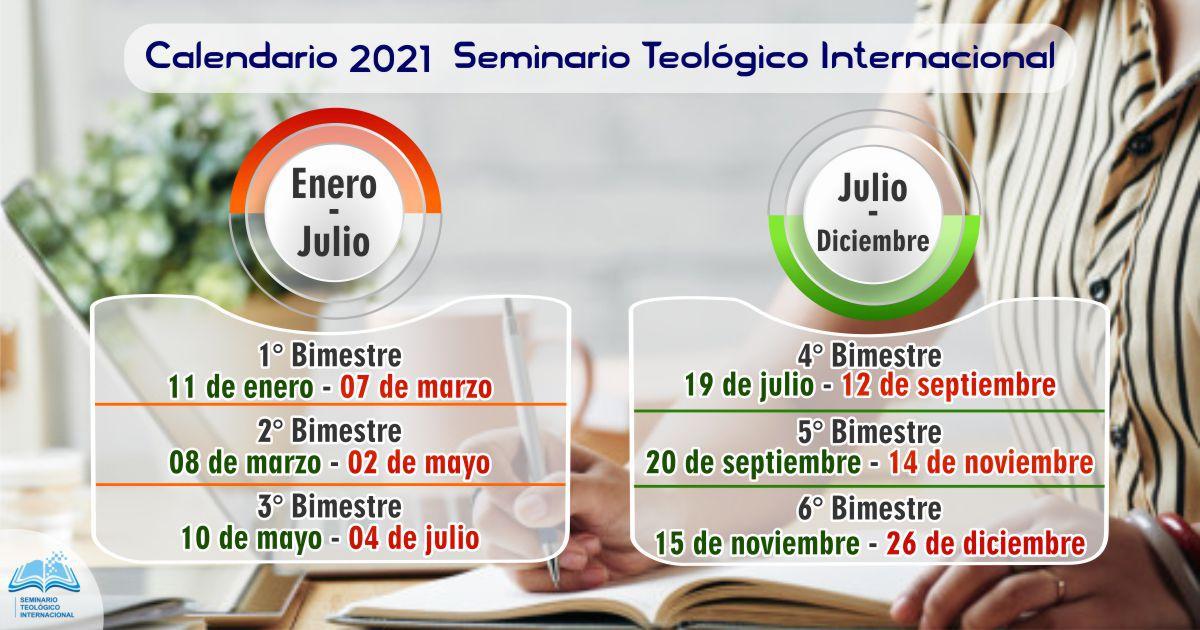 Calendario de clases 2021 Seminario Teológico Internacional